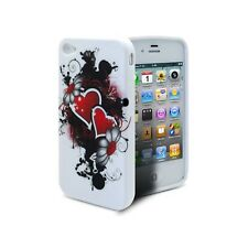 Coque Pour iPhone 4S/4 Hearts Tpu Gel Rouge  de protection