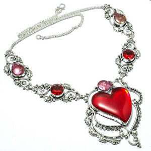 """Red Mystic Topaz, Red Mystic Topaz Handmade Ethnic Style Jewelry Necklace 18"""" LL"""