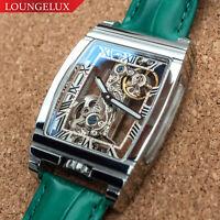 Mens Classic Flywheel Bridge Luxury Mechanical Leather Band Watch PRESALE