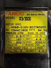 Fanuc A3 / 3000 AC Servo Motor A06B-0123-B077 #0200 127V 200HZ 3 PHASE