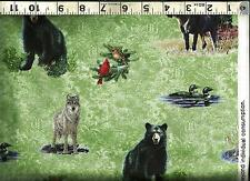 Quilting Treasures ~ MOOSE BEAR WOLF LOON ~ 100% Cotton Quilt Fabric BTY