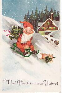 Ak New Year Miz Dwarf, Sled, Pig 1938