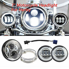 Silver Kit 7'' Headlight+4.5'' 30W CREE LED Fog Light with Angle Eyes For Harley
