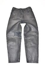"Vintage Blue Leather Straight Leg Women's Jeans Pants Trousers Size W26"" L25"""
