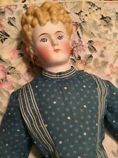 "Antique 25"" Blonde Parian Lady Doll Antique Body & Antique Dress Lovely Lady"