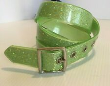 """Womens XL Lime Green Belt with Sparkling Stars 1.5"""" x 40"""""""