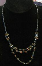 Wonderful hematite beaded necklace with very pretty green & brown tinted stones