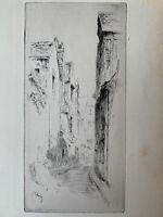 Gustave Leheutre gravure eau forte etching La Rue Du Petit Gars A Tours