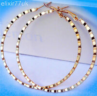 NEW PAIR OF BIG GOLD PLATED HOOP EARRINGS LARGE CIRCLE HOOPS FAB LADIES GIFT UK