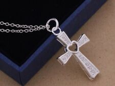 925 Sterling Silver Heart Cross Pendant Charm Necklace Link Chain Jewelry
