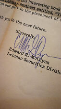 RARE Original 1982 Lehman Brothers Edward McGlynn Signed Letter Securities