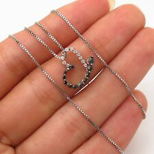 """Signed 925 Sterling Real Black & White Diamond Heart Pendant Chain Necklace 18"""""""