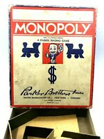 Game Original Box Monopoly 1936 Parker Brothers Game & Cardboard Inserts Anrique