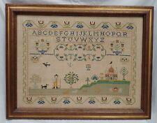 """Antique Needlework Framed  Sampler, Estate Find - School House Theme 21 x 27"""""""