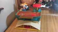 Vintage Fisher Price Little People Family Airport,1972,helicopter,gd!