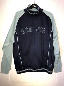 *BNWT* KANGOL Men's Size Med Retro Style Zip Through Jacket Fleece Navy/Blue