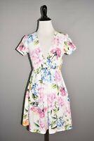 SHOW ME YOUR MUMU $154 Ibiza Stretch Shift Dress in Bright Floral Cutout Back XS