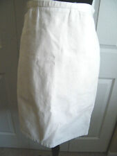 PRADA  md ITALY NWOT WHITE DENIM  TWILL  PENCIL SKIRT  w /  POCKETS SZ 42