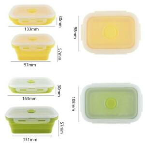 4pcs Rectang Silicone Scalable Folding Silicone Airtight Food Storage Container