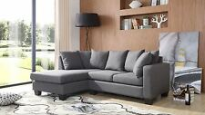 Brand New Eleganze Corner Sofa Grey Fabric 50% OFF Limited Stock