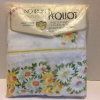 """Vintage Pequot Luxury Muslin Floral Daisies Double Flat Sheet - NEW 81"""" x 104"""""""