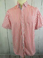 Mens Blue Harbour Cotton Red & White Striped S/S Shirt Size M Medium
