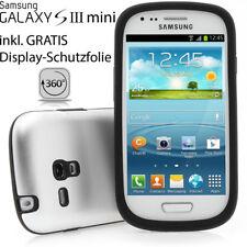 Samsung s3 mini Galaxy i8190, funda protectora de aluminio lámina de protección back cover Alu plata