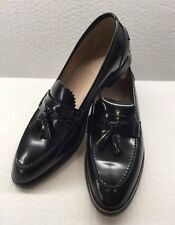 J.Crew Women's  Biella Leather Tassel Loafers Shoes Sz 8 Black New Italy A9861