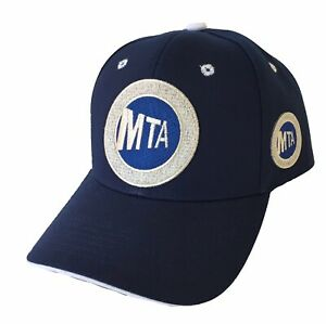 MTA 2 LOGOS HAT NAVY WHITE ADJUSTABLE USA FLAG NEW YORK HAT