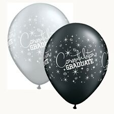 "25 x 11"" Black & Silver Graduation Latex Balloons Ideal Party Decoration"