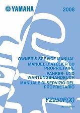 Yamaha service workshop manual 2008 YZ250F YZ250F(X)
