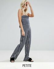 NWT Boohoo Women's Petite Stripe Strapless Jumpsuit / Wide Leg /  Size US 0