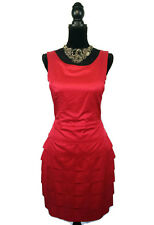 "NWT REVIEW ""Beehive"" Dress - Layered Pleated Boat Neck Rose Red - 12 - RRP $259"