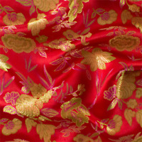 Red/Multi Floral Brocade, Fabric By The Yard