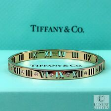 $7k NEW 18K GOLD Diamond TIFFANY & CO ATLAS Pierced Hinged Bangle Roman Numerals