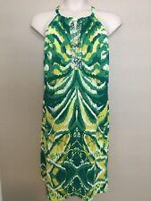 $90 INC Women's Plus Size 2X NEW Green/Yellow Printed Sequin Halter Dress