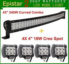 "43"" 240W Curved LED Light Bar Combo+4X 4'' 18W CREE Offroad Truck Boat Ford Lamp"