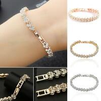 Women Fashion Jewelry Alloy Full Rhinestone Heart Shape Bangle Bracelet 0022