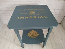 Vintage Drinks Trolley Painted Blue Tea Trolley Champagne Gin Bar Gold Stencil