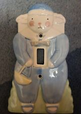 Charpénte Ceramic Bunny Blue Switchplate Cover 6.75 x 4 inches