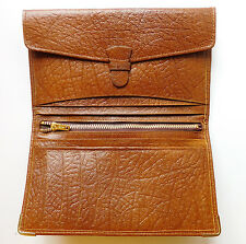 Vintage real leather wallet with zipped coin purse lots of compartments 1980s
