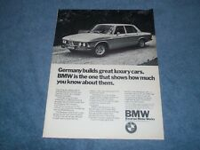 "1972 BMW Bavaria Vintage ad ""Germany Builds Great Luxury Cars"""