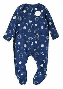 Mothercare Baby Boy Navy Blue Space Sleepsuit Babygrow  Age NB 1 3 6 9 12 18 24
