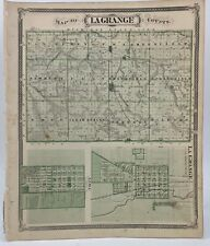 1876 Atlas St. Lagrange & Elkhart County Indiana Illustrated Baskin and Foster
