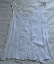 White Floral Embroided Sleevless Blouse River Island - UK 8/34