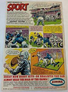 1965 Aurora model kit cartoon ad page ~ JOHNNY UNITAS Baltimore Colts