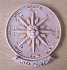 """9"""" Tall Italian Made Terra Cotta Sunface Compass Wall Plaque Garden Art"""