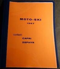 VINTAGE 1967 MOTO-SKI CAPRI & ZEPHYR SNOWMOBILE PARTS MANUAL (802)