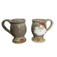 Christmas Ceramic Hot Chocolate Mugs Set Of 2 In Beige 10 cm Tall Lacquered