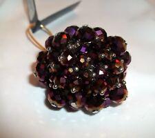 New NIQUEA.D SAN FRAN PAPYRUS SWAROVSKI CRYSTAL Cluster Ring Purple Grape